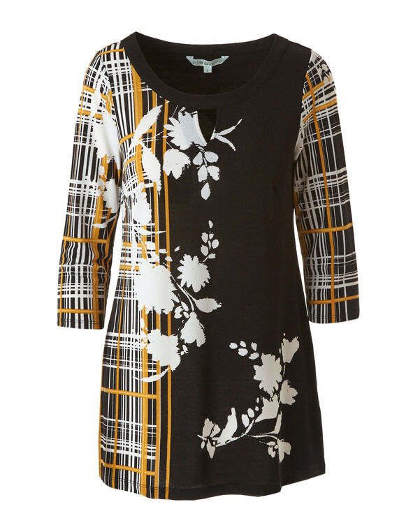 Yellow Patterned Crepe Tunic Top, Floral, hi-res