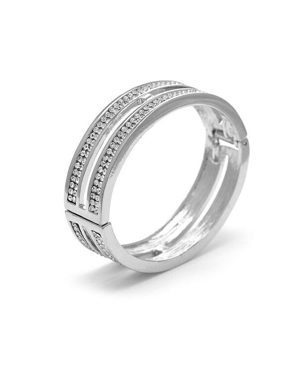 Silver Pave Crystal Hinge Bracelet, Silver, hi-res