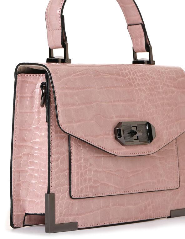 Pink Croco Handbag, Pink, hi-res
