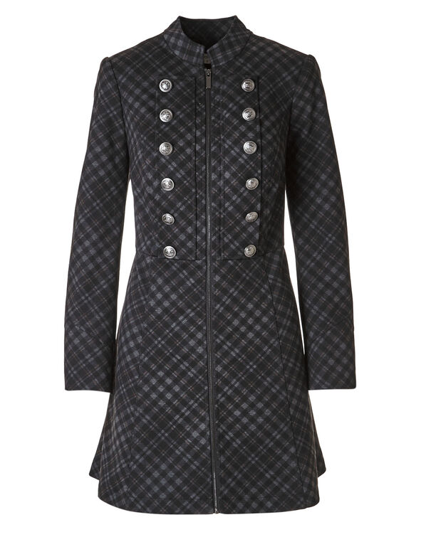 Black Plaid Long Military Blazer, Black, hi-res