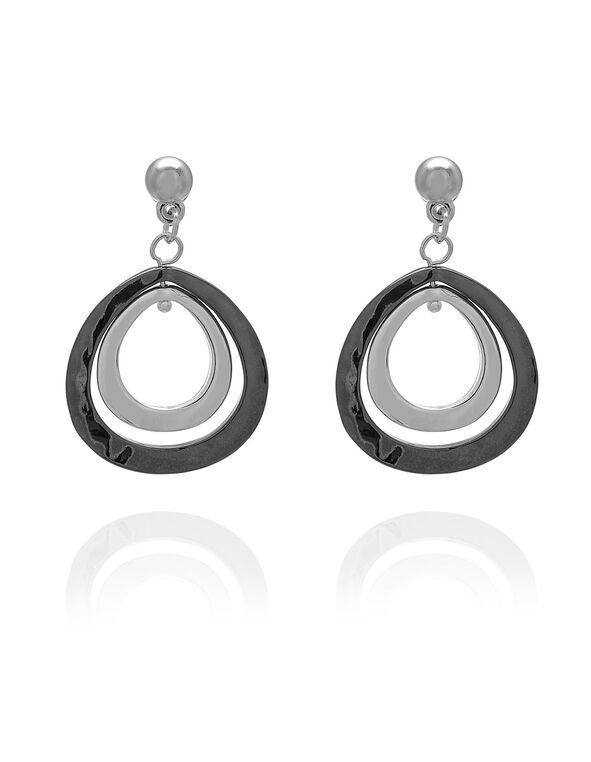 Silver Tri Teardrop Earring, Silver, hi-res