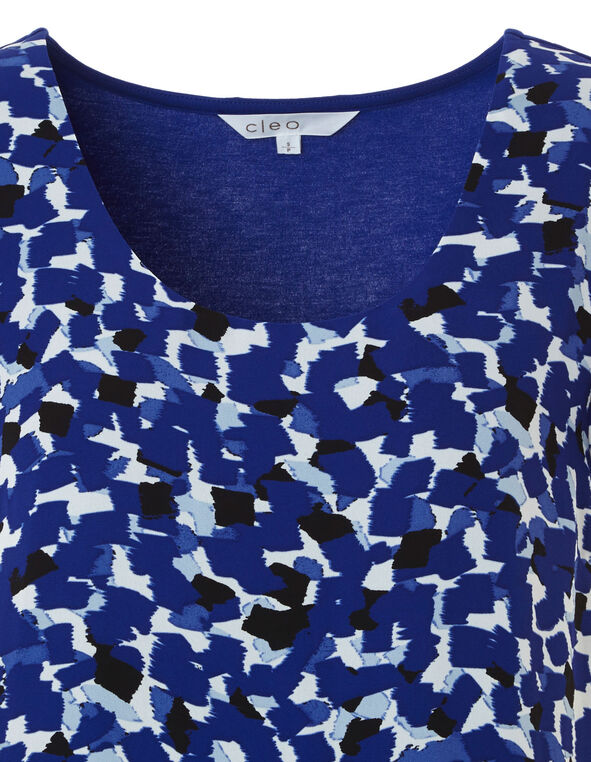 Blue Floral Print Woven Top, Royal Blue, hi-res