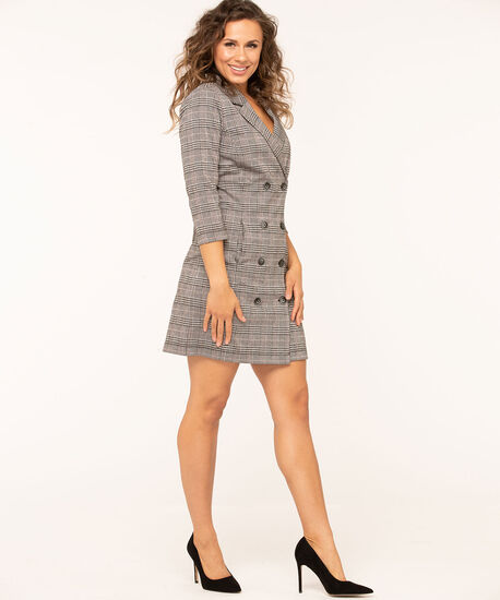 Plaid Collared Button Front Dress, Grey/Black/Rust, hi-res