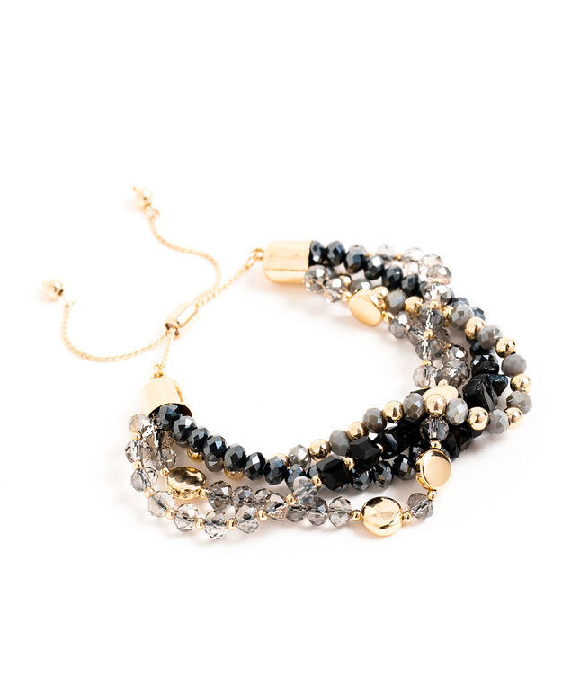 Adjustable Beaded Bracelet, Grey