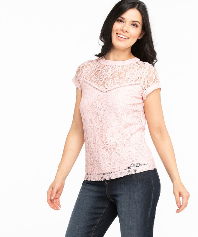 Lace Scoop Neck Short Sleeve Top, Soft Pink