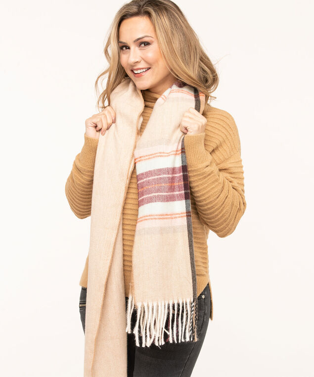 Plaid Super Soft Blanket Scarf, Wine/Sand/Pink/Charcoal, hi-res