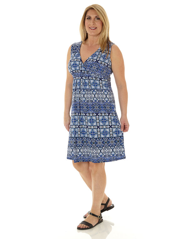 Blue Patterned Fit & Flare Dress, Blue, hi-res