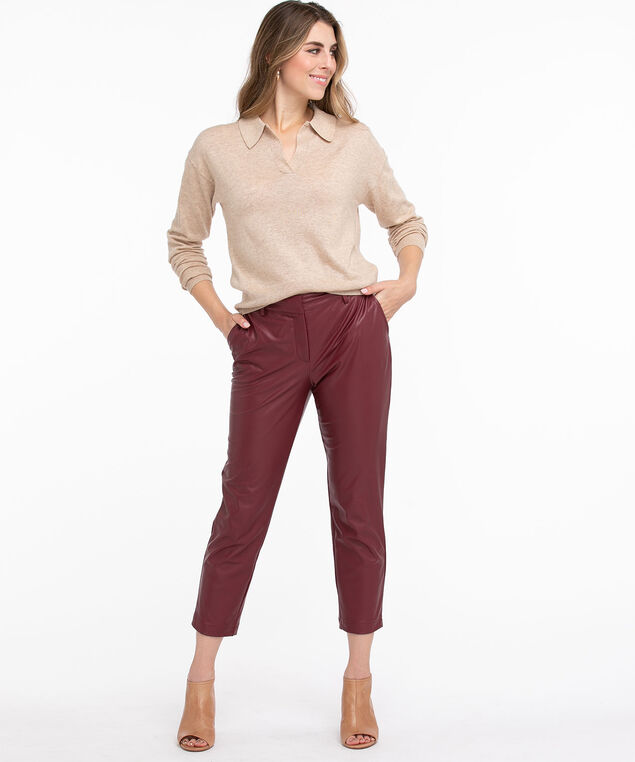 Long Sleeve Polo Collar Sweater, Straw Mix
