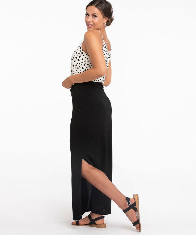 Black Front Slit Maxi Skirt, Black