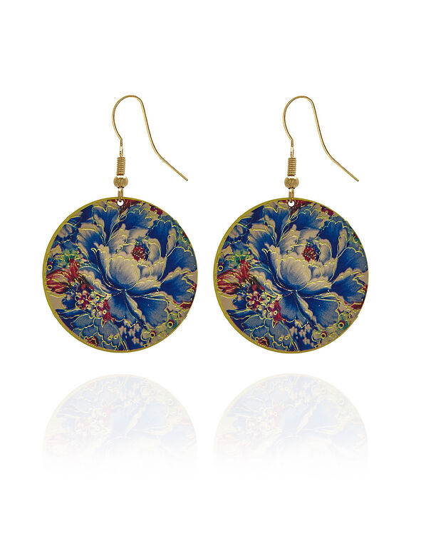 Painted Floral Circular Earring, Blue, hi-res