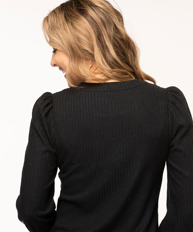 Puff Sleeve Lightweight Knit Top, Black