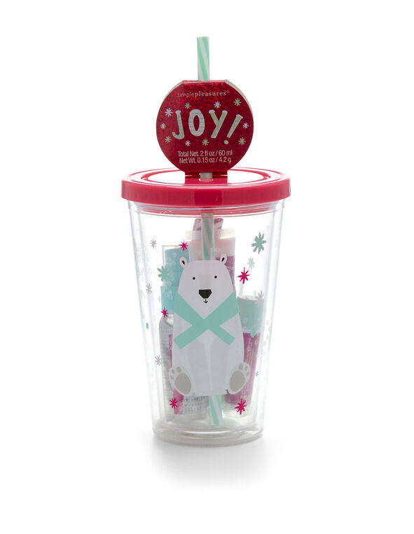 Polar Bear Cup Cosmetic Bundle, Red, hi-res