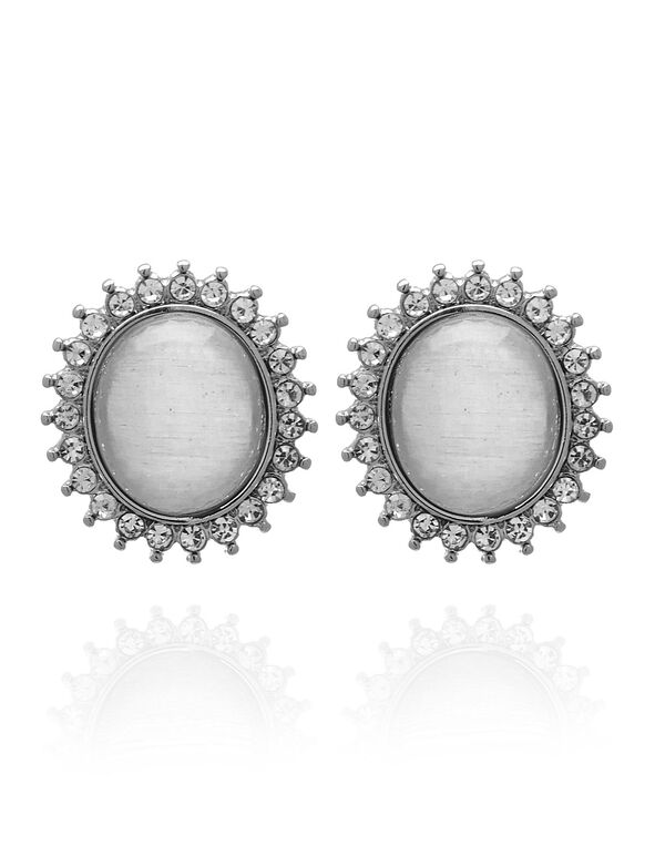 White Cat Eye Oval Earring, White, hi-res