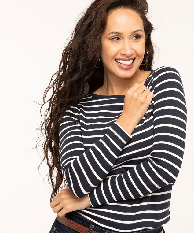 Navy Long Sleeve Boat Neck Tee, Navy/White Stripe, hi-res