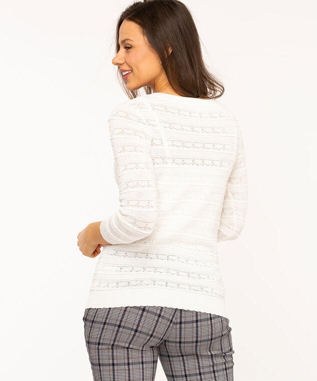 Ivory Pointelle V-Neck Sweater, Ivory