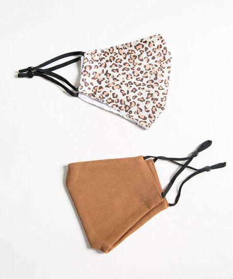 Leopard Print Face Mask Set, Camel/Brown/Ivory, hi-res