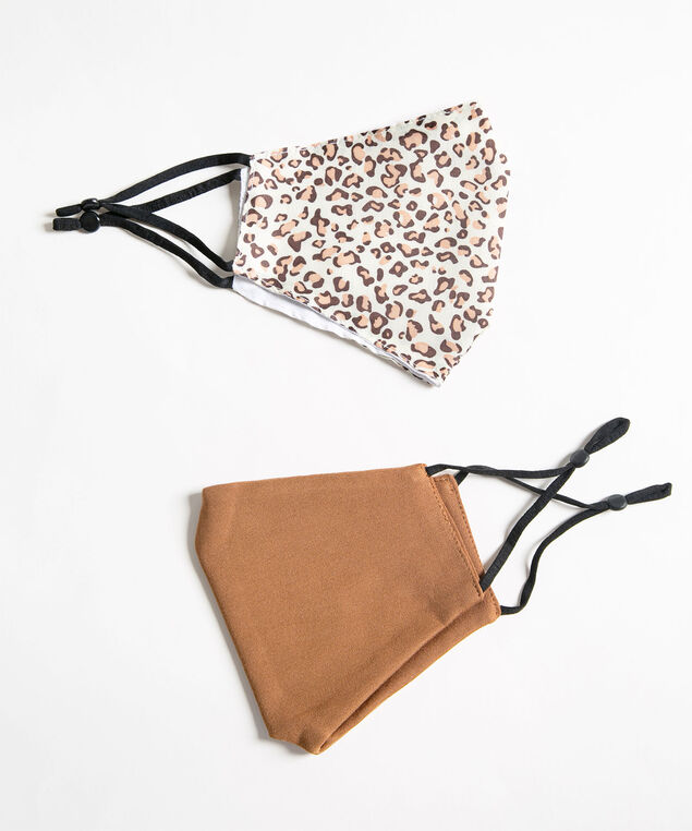 Leopard Print Face Mask Set, Camel/Brown/Ivory