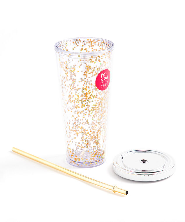 Gold Star Tumbler With Straw, Gold