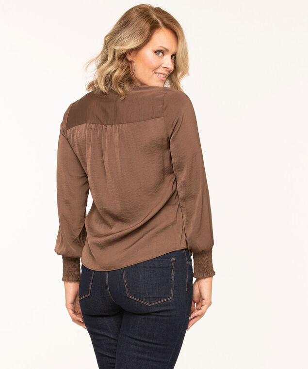 Brown V-Neck Long Sleeve Blouse, Brown