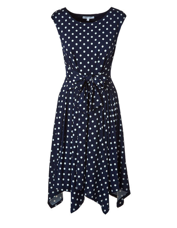 Navy Polka Dot Tie Front Dress, Navy, hi-res