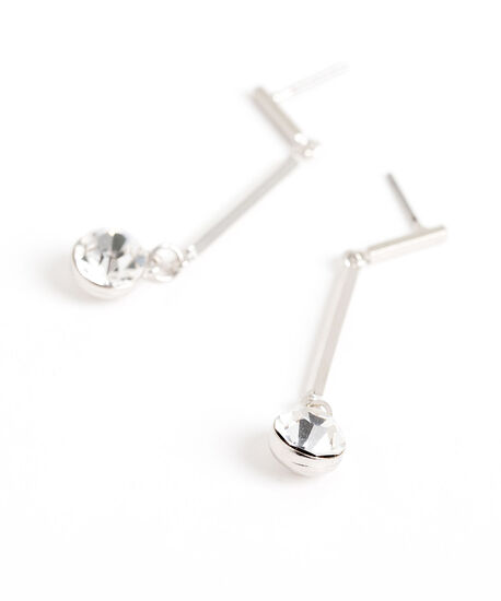 Crystal Silver Bar Drop Earring, Silver, hi-res