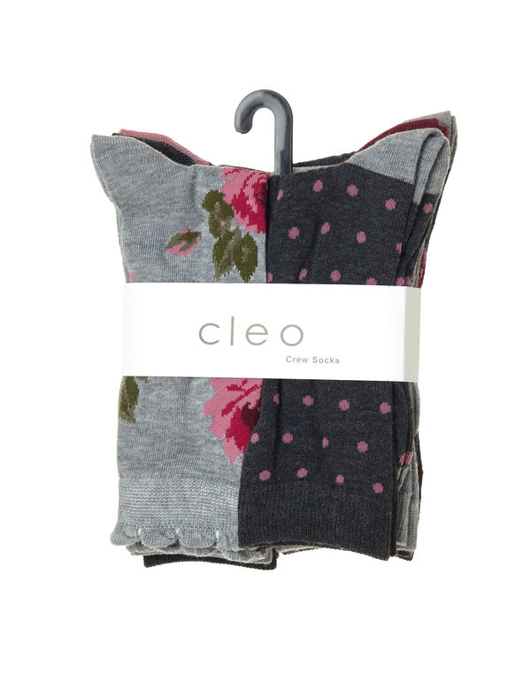 Pink and Grey Floral Crew Socks, Grey, hi-res