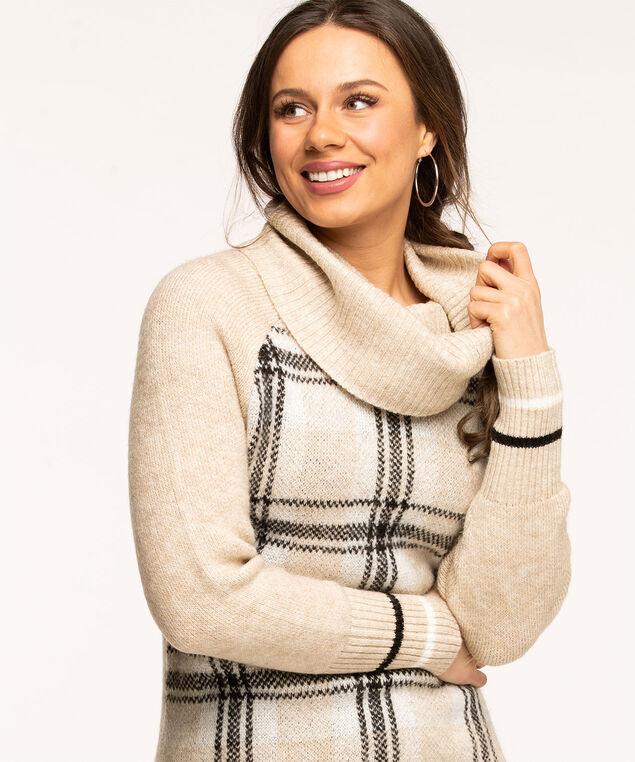 Oatmeal Cowl Neck Tunic Sweater, Oatmeal Plaid