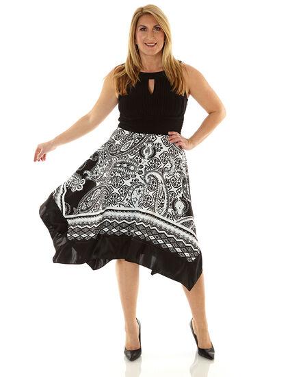 Black Scarf Printed Fit & Flare Dress, Black/White, hi-res