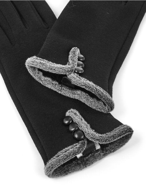 Fur Trim Black Text Gloves, Black, hi-res