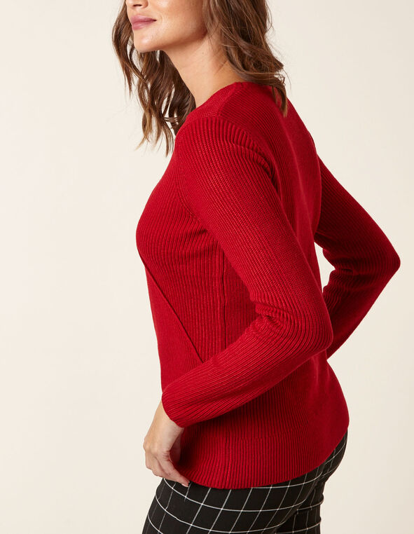 Ruby Rib Knit Wrap Front Pullover, Red, hi-res