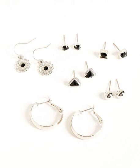 Silver & Black Earring 6-Pack, Silver/Black, hi-res