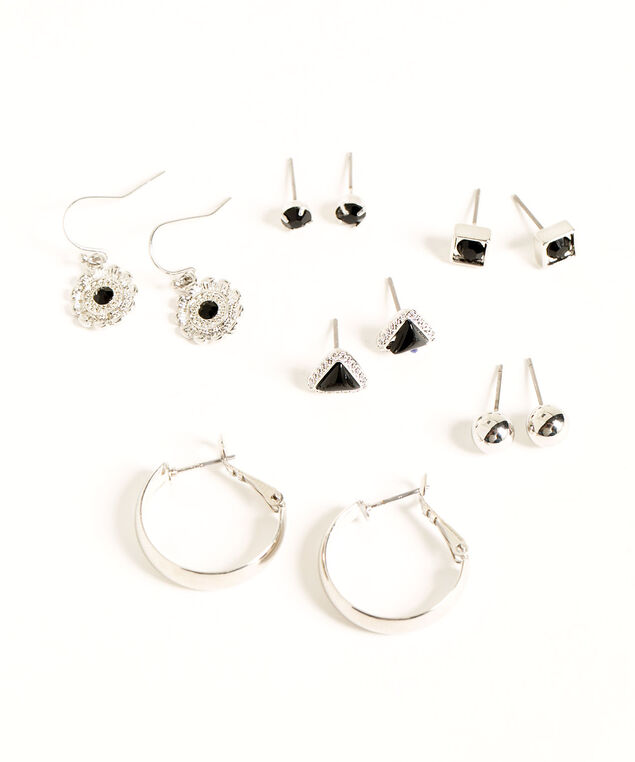 Silver & Black Earring 6-Pack, Silver/Black, hi-res