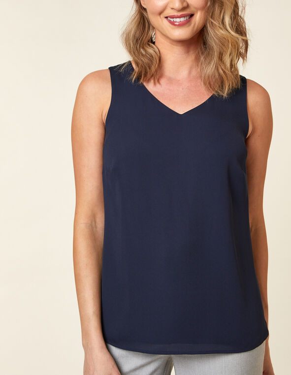 Sleeveless Woven Blouse, Navy, hi-res
