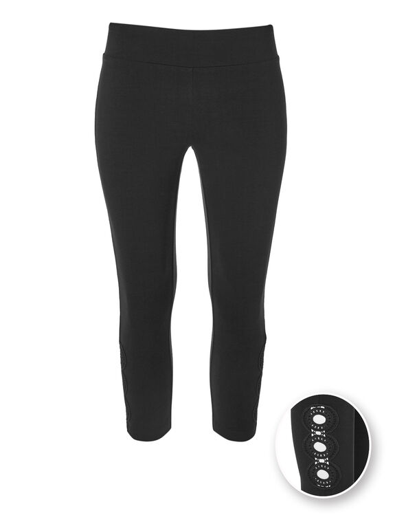 Black Cotton Capri Legging, Black, hi-res