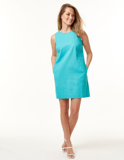 Jade Linen-Blend Dress, Blue, hi-res