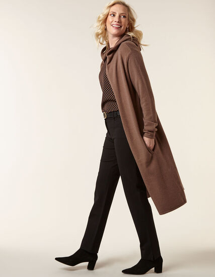 Brown Long Sweater Coat, Dark Brown, hi-res