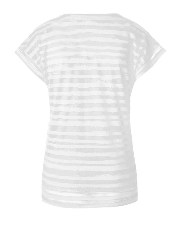 White Striped Burnout Top, White, hi-res