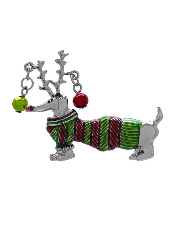 Festive Weiner Dog Pin, Silver/Green/Red, hi-res