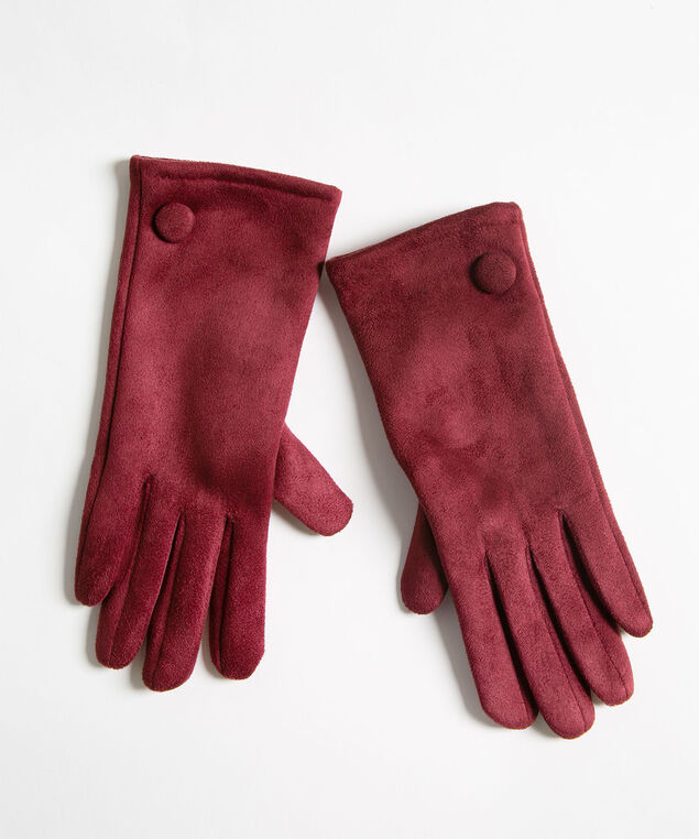 Mulberry Faux Suede Gloves, Wine, hi-res