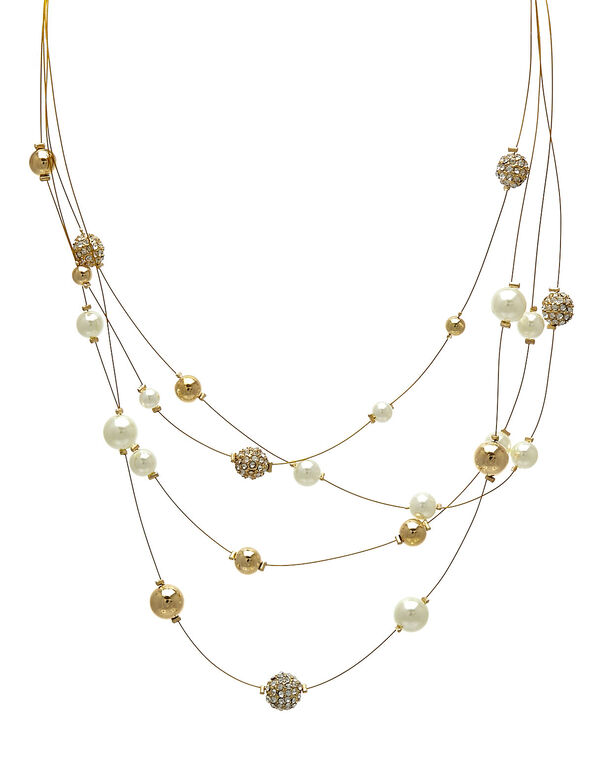 Gold Wire Short Illusion Necklace, Gold, hi-res