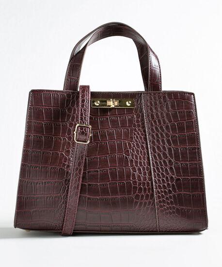Wine Structured Croco Handbag, Wine, hi-res