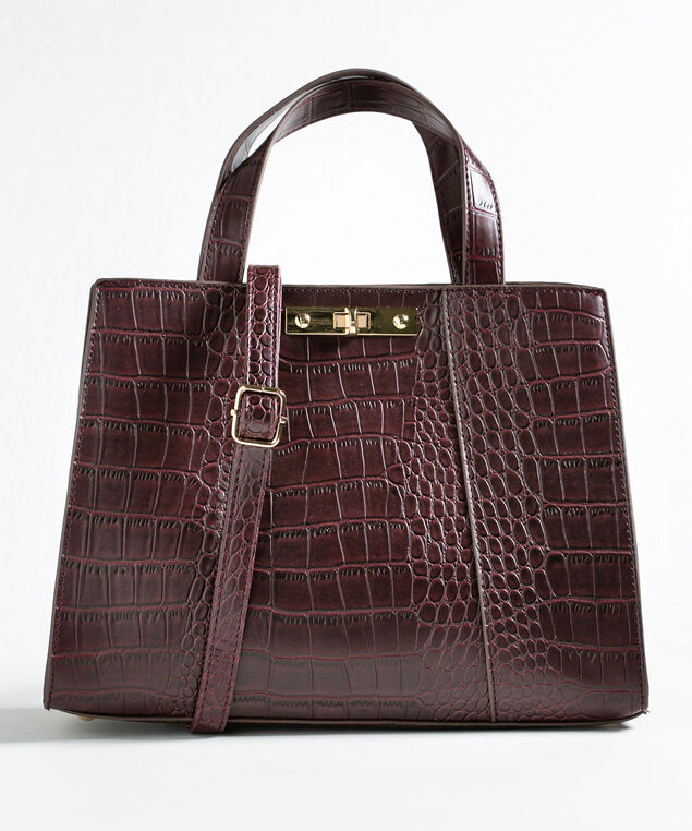 Wine Structured Croco Handbag, Wine, hi-res