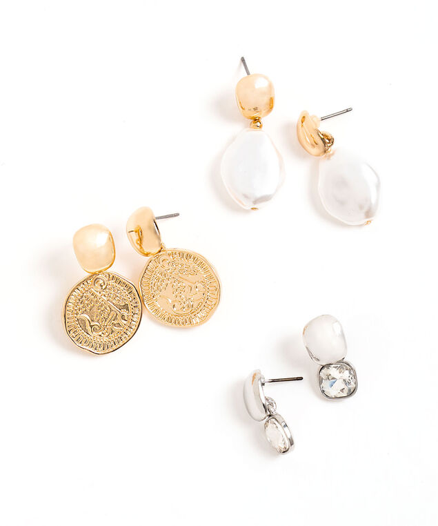 Small Drop Earring 3-Pack, Gold/Silver