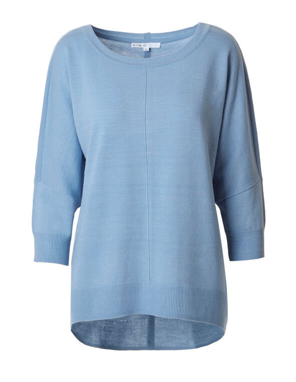 Dusty Blue Dolman Back Button Sweater, Dusty Blue, hi-res