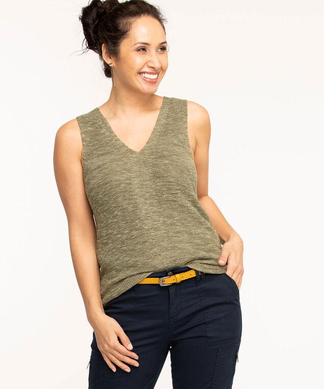 Sleeveless V-Neck Sweater, Green