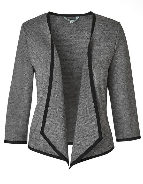 Black Patterned Knit Blazer, Grey, hi-res