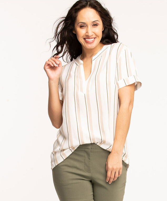 Y-Neck Tunic Top, Ivory/Oatmeal/Olive Stripe