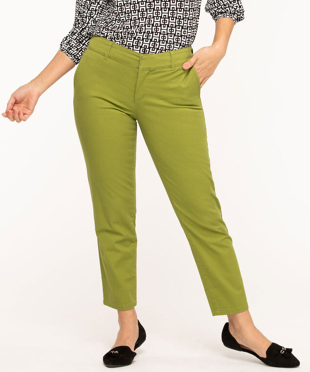 Slim Cotton Chino Ankle Pant, Avocado