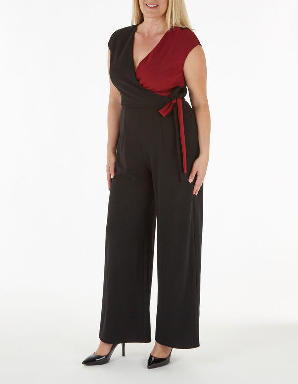 Black Side Tie Jumpsuit, Black, hi-res