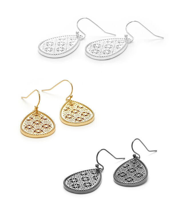 Tri-Metal Tear Drop Earring, Gold/Silver/Hemi, hi-res